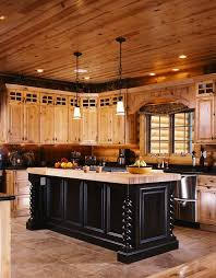 Photos Of A Modern Log Cabin House Kitchen Design Log Cabin - Cabin kitchen cabinets