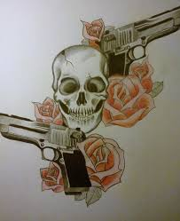 gun skull with roses by waterfallbluff on deviantart