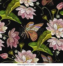 embroidery lotus flowers butterfly vector photo bigstock