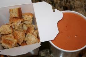 everything to entertain la madeline tomato basil soup and croutons