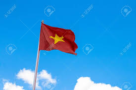 Flag With Yellow Star Flag Of Vietnam Red Flag With Yellow Star Blue Sky With Clouds