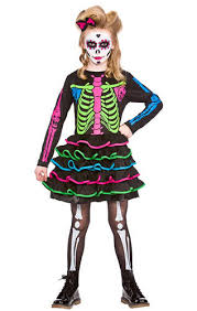 Halloween Skeleton Day Of The Dead Girls Fancy Dress Halloween Skeleton Skull Kids