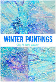 sparkly winter paintings make gorgeous winter process art winter
