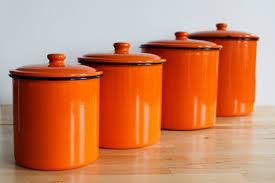 orange kitchen canisters enamel orange canister set bright colorful enamelware