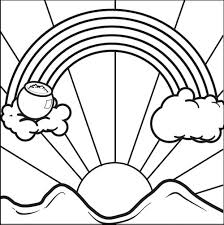 rainbow and sunrise morning coloring pages for kids pe