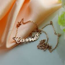 carrie name necklace gold carrie name necklace with birthstone