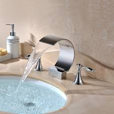 chrome finish contemporary waterfall bathroom sink faucets with