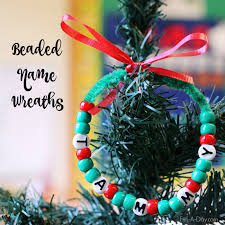 Kid Crafts For Christmas - beaded name wreath craft for kids