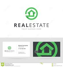 real estate logo and business card template stock vector image