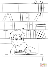 cute little boy reading a book at the library coloring page free