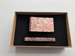 7th anniversary gift made copper tie clip and money clip set hammered texture mens