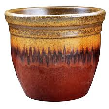 shop allen roth 16 1 in x 15 5 in red gold ceramic planter at