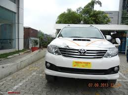 toyota white car got fortune u0027d white toyota fortuner team bhp