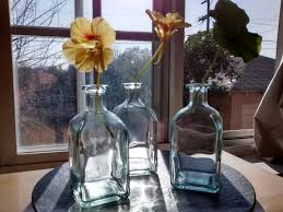 3 RECYCLED Simple Bottle Vases Green Glass Cafe Bistro Wedding