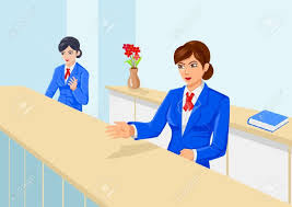 Front Desk Secretary Jobs by 5 640 Receptionist Cartoon Stock Vector Illustration And Royalty