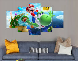 Super Mario Bedroom Decor 5 Panel Wall Art Cartoon Group Oil Painting Super Mario Galaxy On