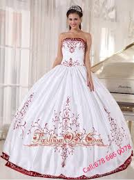 best quinceanera dresses white and wine quinceanera dress strapless satin embroidery