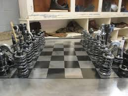 interesting chess sets amateur mechanic builds chess set out of old car parts which one
