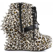 Leopard Home Decor Bravo Spiked Leopard Print Wedge Ankle Boots Demonia Gothic Boots