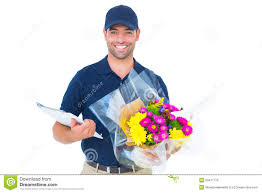 free flower delivery happy flower delivery holding clipboard stock photo image of