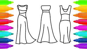 how to draw dresses coloring pages for girls art colors for