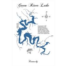 map kentucky lakes rivers wood laser cut map of green river lake ky topographical engr