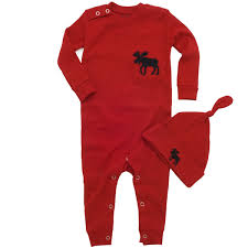 hatley baby coverall and hat moose trailing a