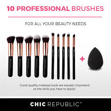 rose gold 10 piece makeup brush set chic republic