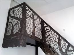 metal landing banister and railing stair landing railing from cut out scrap metal recycled