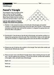 pascal u0027s triangle 3rd 5th grade worksheet lesson planet