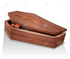 halloween casket illustration of a cartoon wooden casket with lid open and eyes