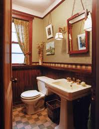 bathrooms with character arts crafts homes and the revival this chicago bath has a historical feel done up in a dark wood wainscot and checkerboard