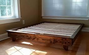 Platform Wood Bed Frame Low Profile Platform Bed Solid Wood Peace Wood