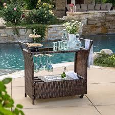 patio buffet cart outdoor furniture wicker resin rattan garden