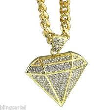 hip hop necklace images Diamond shape pendant micro pave 30 quot cuban chain gold tone mens jpg