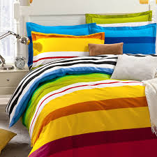 Boys Duvet Covers Twin Aliexpress Com Buy Rainbow Color Stripes Boys Bedding Set For