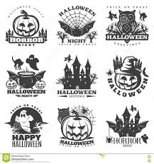 happy halloween clip art black and white halloween black white emblems stock vector image 76909919