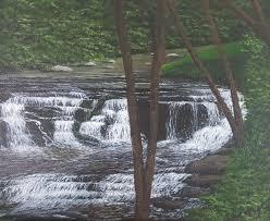 bureau 駘ectrique tennessee mountain waterfall original 8 x 10 acrylic my artwork