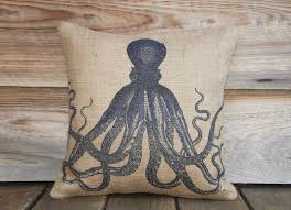 octopus decor blue octopus pillow cover throw pillow nautical cushion cover