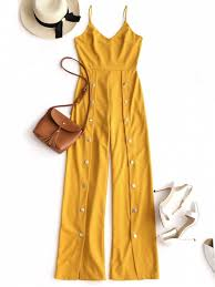 s one jumpsuit snap button wide leg jumpsuit yellow jumpsuits rompers s zaful