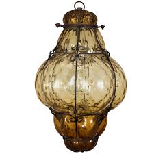 vintage hand blown seguso murano amber glass cage pendant light
