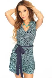 womens clothing rompers teal navy diamond print sleeveless waist