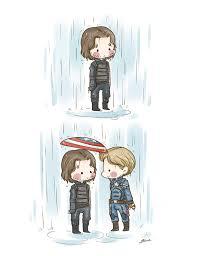 rain print bucky barnes steve rogers captain raining cute