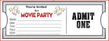 movie ticket invitations template movie birthday party invitations