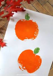 pumpkin apple stamping easy holiday kids art activity