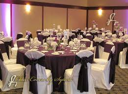 eggplant colored table linens chicago table linens for rental in aubergine satin in the lamour