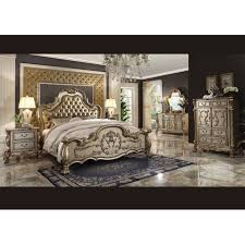 Bedroom Sets HDS HD Victorian Grand Tufted Leather Bed With - Tufted headboard bedroom sets