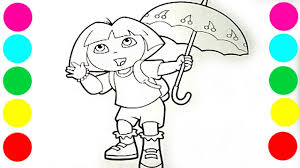 dora coloring book pages dora u0026 umbrella coloring book pages fun videos for kids and