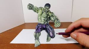 drawing the hulk in 3d cool optical illusion trick art youtube
