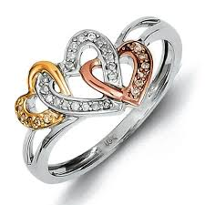 heart rings images Sterling silver 14k yellow rose gold diamonds three heart ring jpg